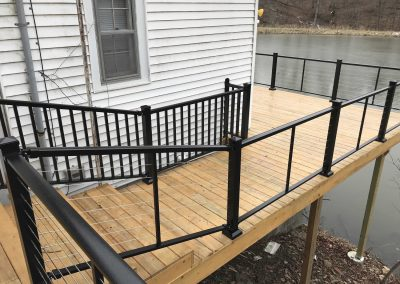 Madden Cable Railing Drop Pin on Deck and Stairs w Picket Rail in Background