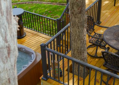 Sq Baluster Railing - Bronze w- Low Profile Post Base Cover - Top Deck Arial View2